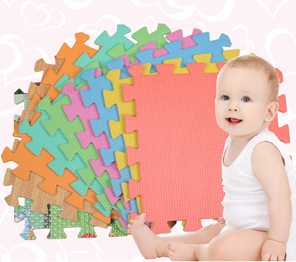 10Pcs Baby Interlocking EVA Foam Floor Puzzle Play Mat Crawling Play 30*30*0.8cm Red hwydo