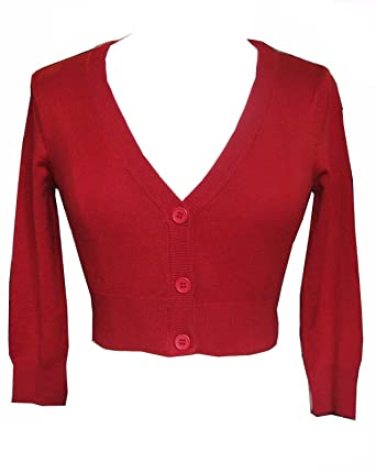 44ec1b1efd Cool Hot Fashions Cherry Red Cropped V-neck Cardigan Sweater Pinup retro  Rockabilly 50 s (