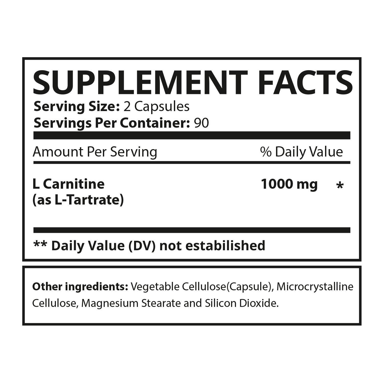EBYSU L-Carnitine Tartrate - 180 Capsules 1000mg Max Strength Pure L Carnitine Supplement by EBYSU (Image #2)