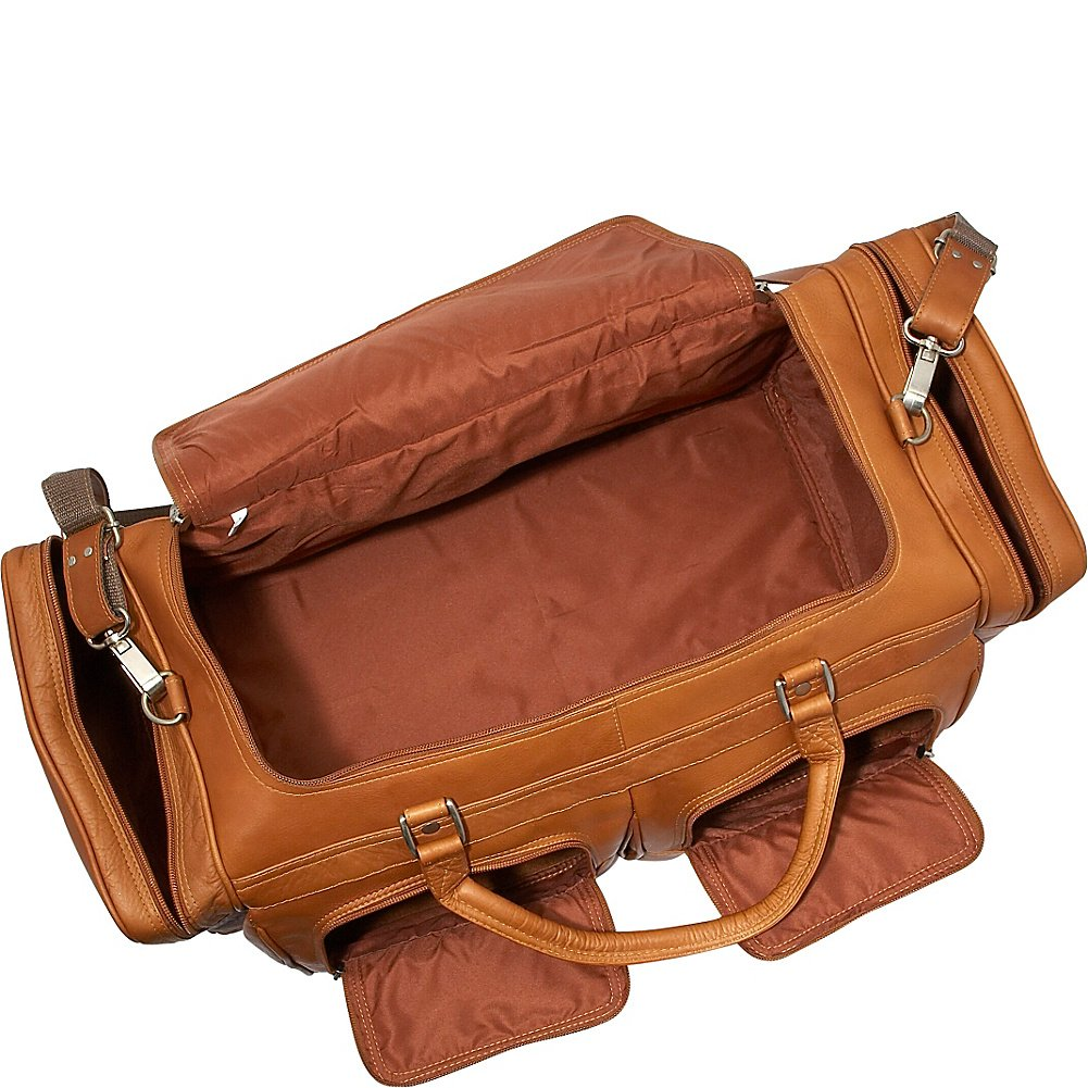 Piel Leather 24In Duffel with Pockets, Chocolate, One Size by Piel Leather (Image #2)