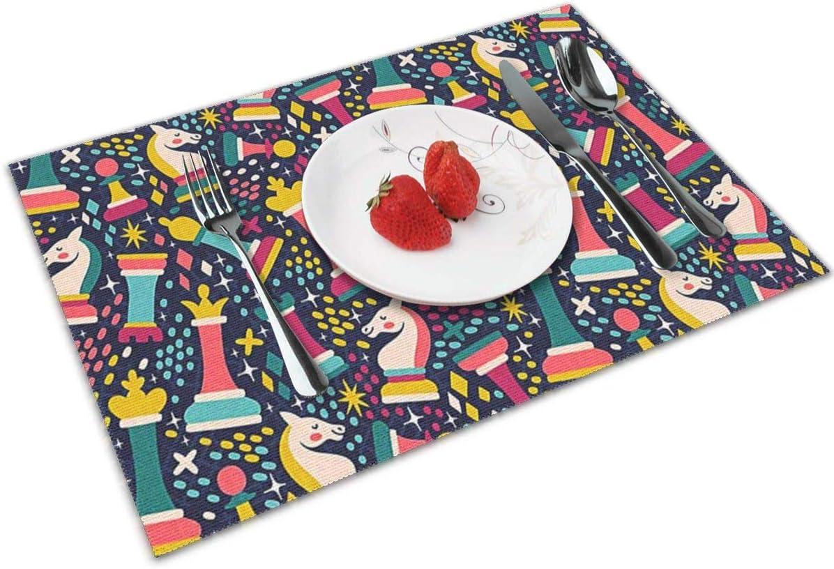 QCFW Manteles Individuales Piezas de ajedrez geniales, Mantel Individual Antideslizante Resistente Al Calor Salvamanteles Juego de 4 para la Mesa de Comedor de Cocina: Amazon.es: Hogar