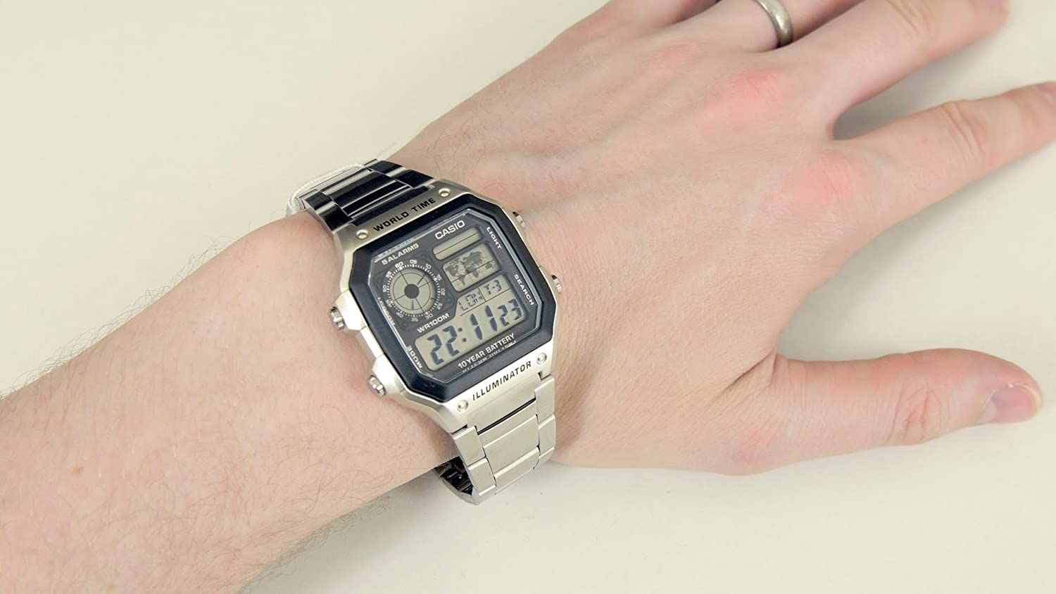 Casio Collection Gents Watch Stainless Steel World Time Ae 1200whd 1a Original Digital 1avef Watches