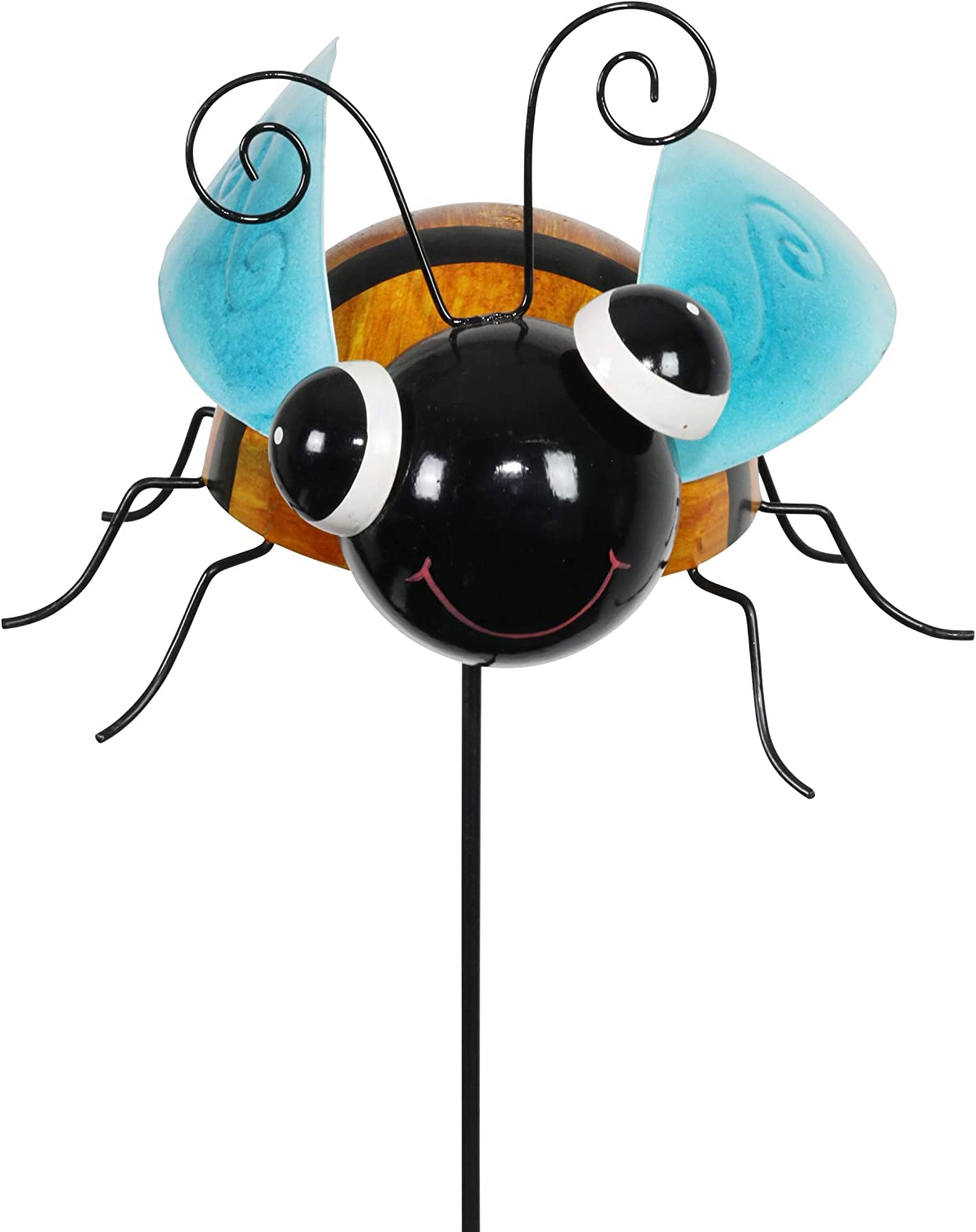 Exhart Hand Painted Metal Bee Garden Stake, 8.5 by 36 Inches