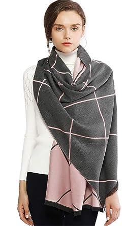 choisir le plus récent design exquis site professionnel RIIQIICHY Plaid Écharpe Pashmina Châle Etole Pour Femme Hiver Cachemire  Grande Réversible Écharpes