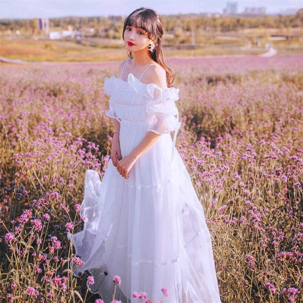 White Summer Lady Dress Word Shoulder White Fairy Skirt Temperament Holiday Beach