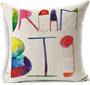 Aremazing Colorful Letters Cotton Linen Home Decor Pillowcase Throw Pillow Cushion Cover 18 x 18 Inches (Dream big)