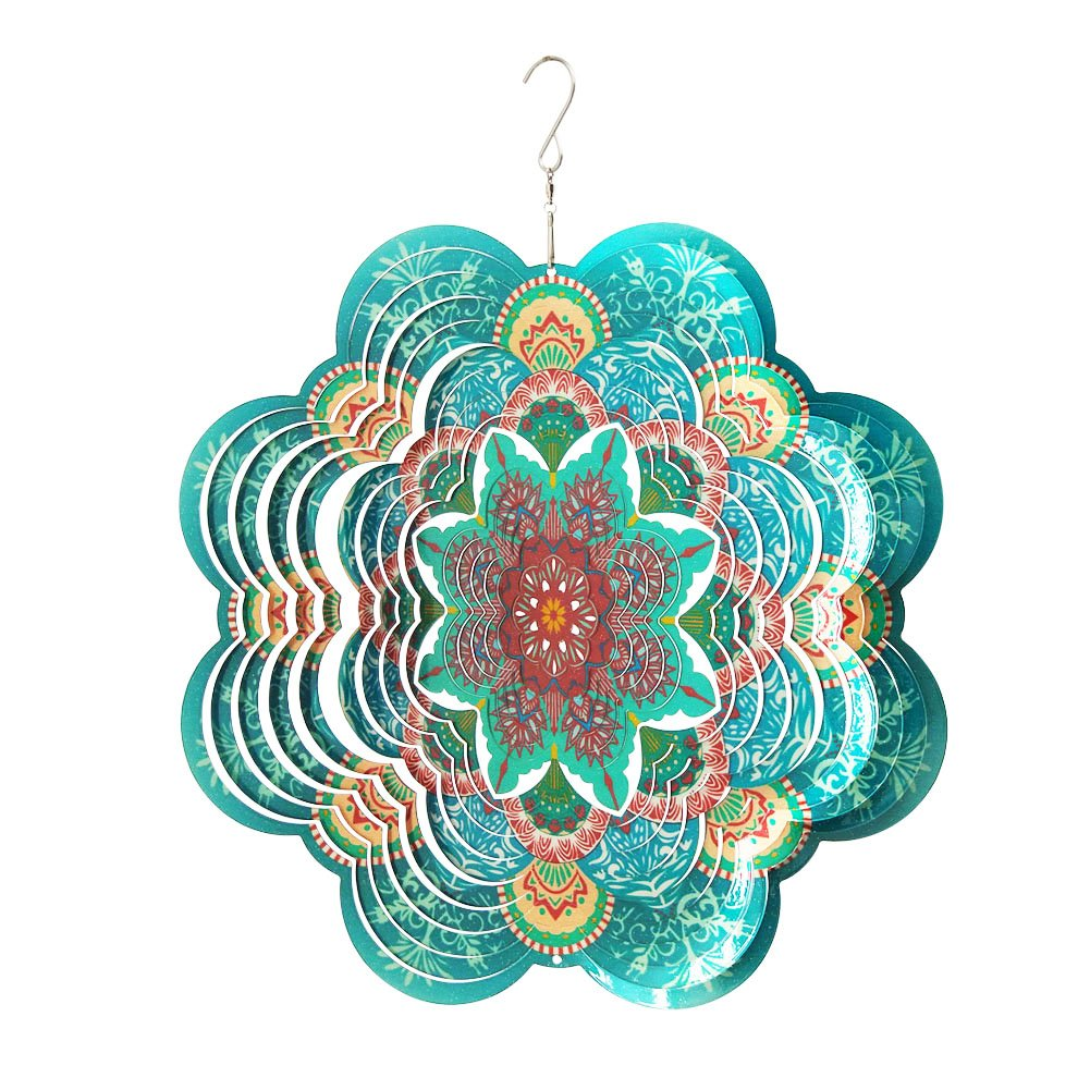 Fonmy Stainless Steel Wind Spinner-3D, Laser Cut Hand Painted with Color Sparkling Powders, Indoor Outdoor Garden Decoration Crafts Ornaments, Multi Color Flower -12'' inch