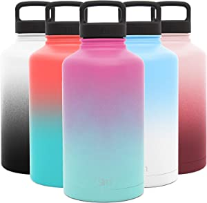 Simple Modern 64 Ounce Summit Water Bottle - Large Stainless Steel Half Gallon Flask +2 Lids - Wide Mouth Double Wall Vacuum Insulated Multi Leakproof Ombre: Sorbet