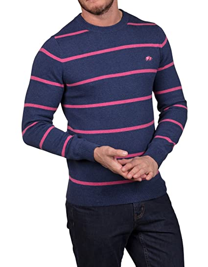 Raging Bull Knitted Jumper - Cotton Cashmere Striped Crew Neck Navy S eb75d3fcc