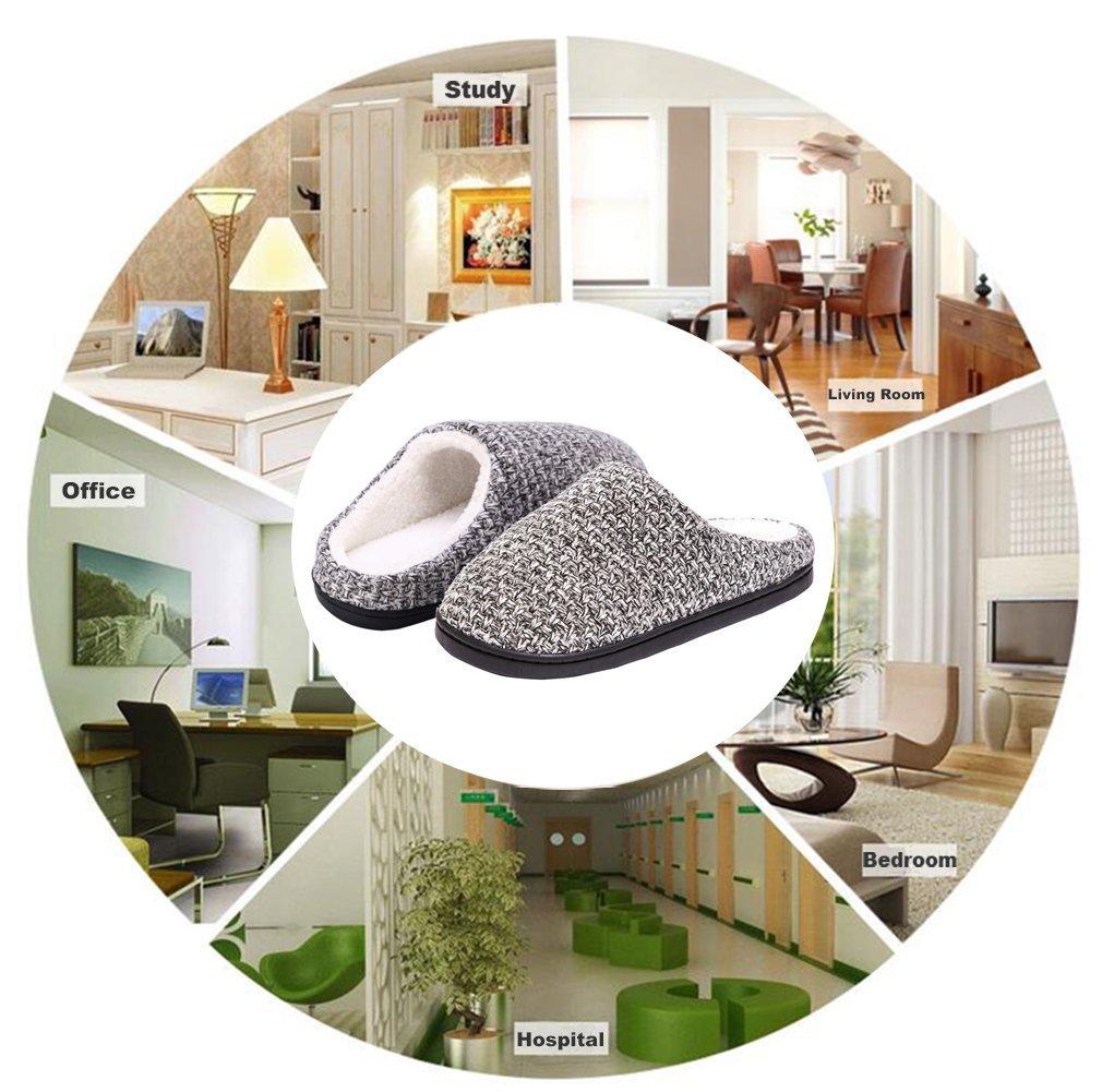 DRSLPAR House Memory Foam Slippers Comfort Plush Lining Slip-on Knit Indoor Outdoor Shoes for Men Women(Grey-Beige X-Large) by DRSLPAR (Image #8)