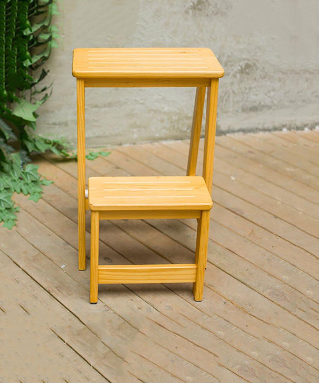 DNSJB 多機能Foldableソリッドウッドラダー椅子移動階段ライブラリフットスツール、4色使用可能、29 * 48 * 55CM (Color : Wood color) B07T5JWF51 Wood color