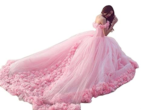23d315c37cf Snowviews Floral Off The Shoulder Ball Gown Quinceanera Dress Prom Gown  With Flowers Pink 22W