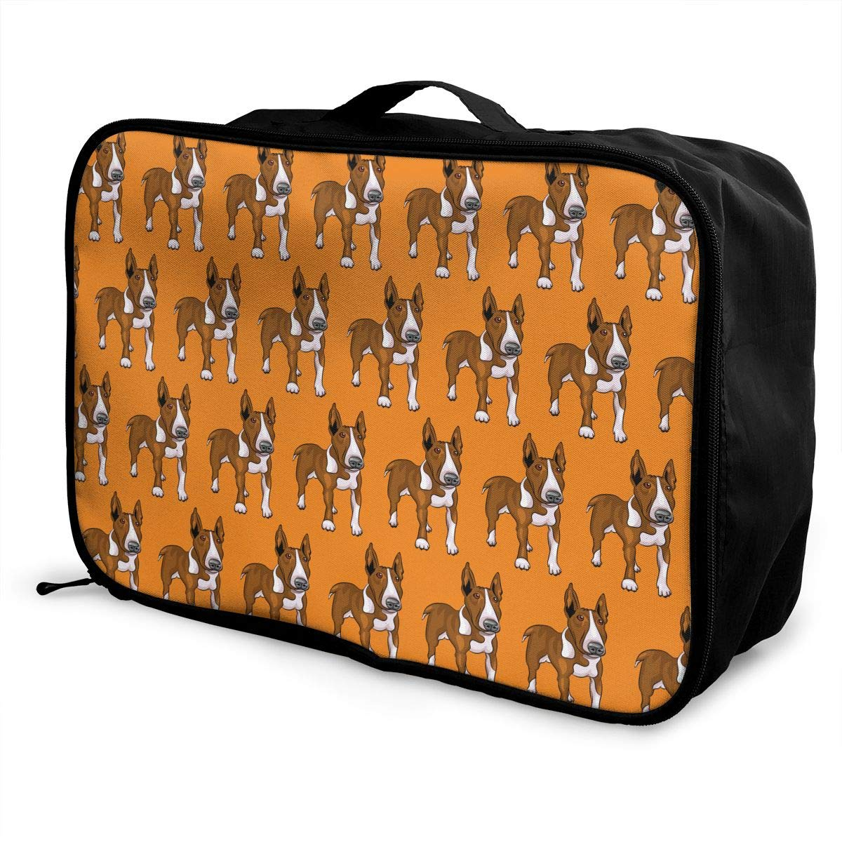 YueLJB Bull Terrier Dog Pattern Lightweight Large Capacity Portable Luggage Bag Travel Duffel Bag Storage Carry Luggage Duffle Tote Bag