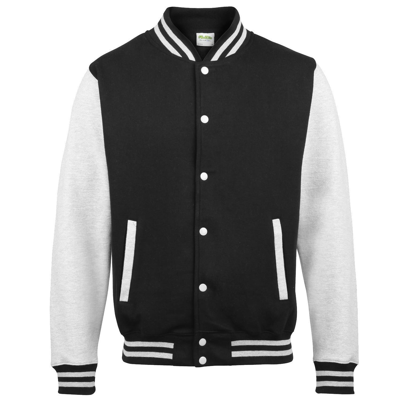 Awdis Varsity jacket - 16 Colours - Sizes XS to 2 - Jet Black/ Heather Grey - XS