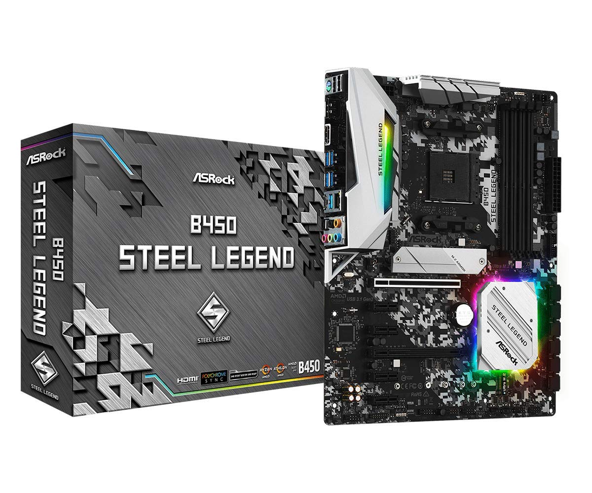 ASRock B450 Steel Legend Socket AM4/ AMD Promontory B450/ DDR4/ Quad CrossFireX/ SATA3&USB3.1/ M.2/ A&GbE/ATX Motherboard by ASRock