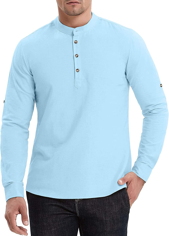 Aimeilgot Men's Cotton Linen Long Sleeve Henley Shirt Casual Beach T Shirts Henley Tops at  Men's Clothing store