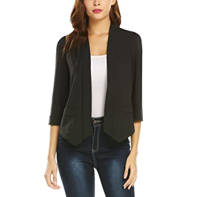 ADOSOUL Womens Casual Work Office 3/4 Sleeves Open Front Chiffon Blazer Jacket at Women's Clothing store