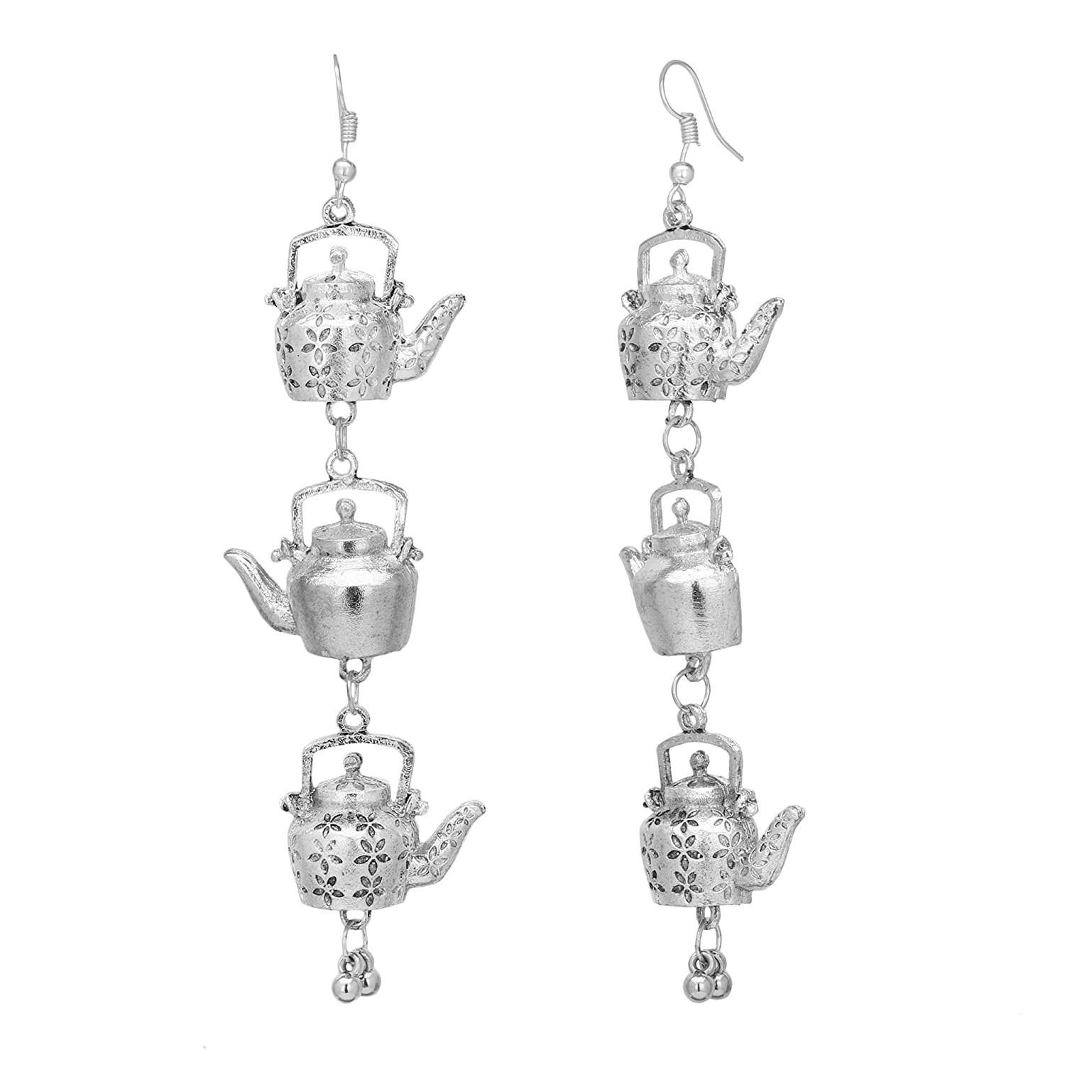 Jwellmart Indian Wedding Bollywood Oxidized Silver Jhumka Kettle Design Jewelry Earrings For Women and Girls
