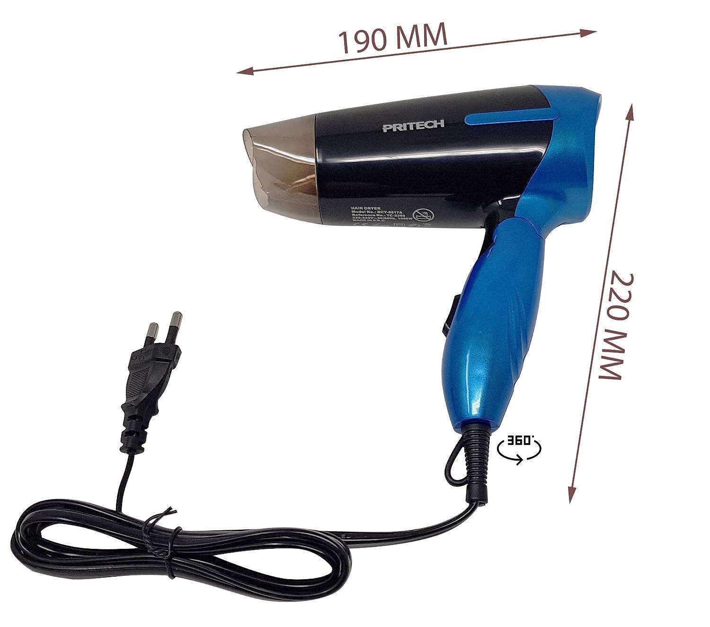 Pritech Secador de pelo de viaje plegable TC-2260 función Ionic, boquilla concentradora de aire, 2 velocidades, perfecto para viaje y para llevarlo a fuera.