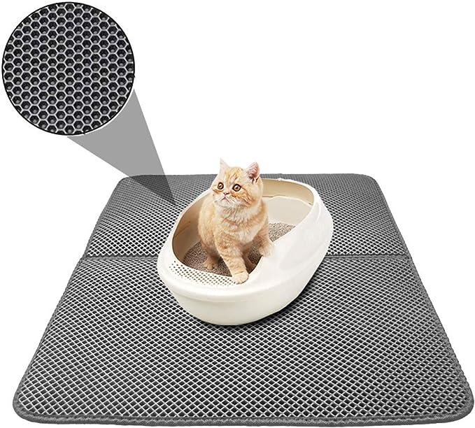 Alfombrilla para gatos TVMall, doble capa de panal de abeja y gato, duradera, impermeable, EVA, para areneros, no tóxico, fácil de limpiar, diseño de gato pequeño, 46 x 60 cm: Amazon.es: Productos