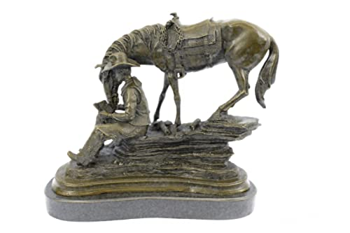 Handmade European Bronze Sculpture Old WEST Cowboy with Horse Western Art Remington Figurine Decor Bronze Statue -YRD-580-Decor Collectible Gift