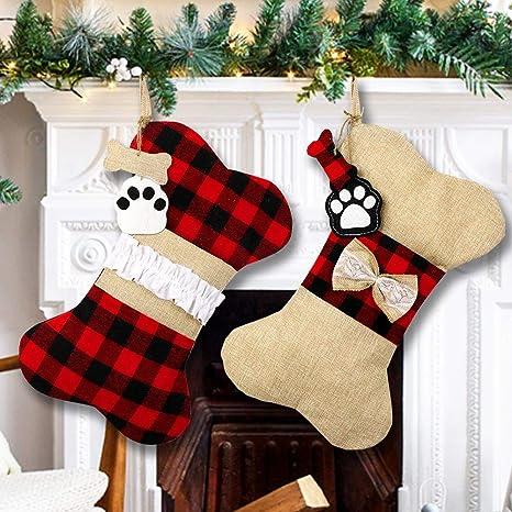 Ourwarm 2pcs Pet Dog Christmas Stockings Burlap Plaid Large Bone Shape Pets Stockings Classic Hanging Stockings For Christmas Decorations Home Kitchen