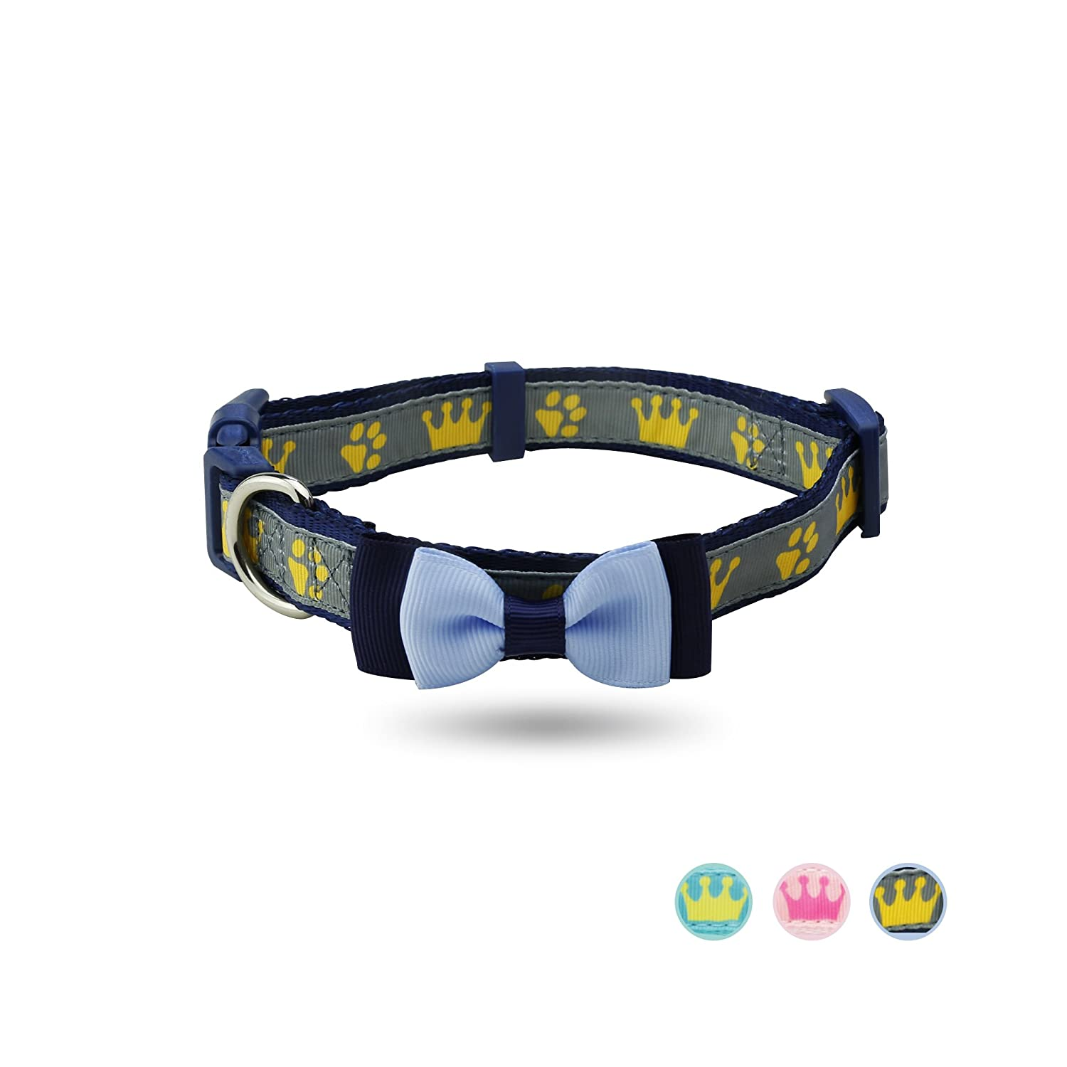 Navy bluee Medium(Neck 12.5\ Navy bluee Medium(Neck 12.5\ YUDOTE Dog Collar with Bow Tie, Adjustable Collars for Small Medium Large Dogs & Puppies, Designer Cute Bowtie Collar, Well Made, Neck 12.5 -19 , Navy bluee