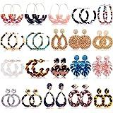 Bohemian Statement Earrings for Women Girls, FIFATA 20 Pairs Rattan Drop Dangle Earrings Mottled Acrylic Resin Hoop…
