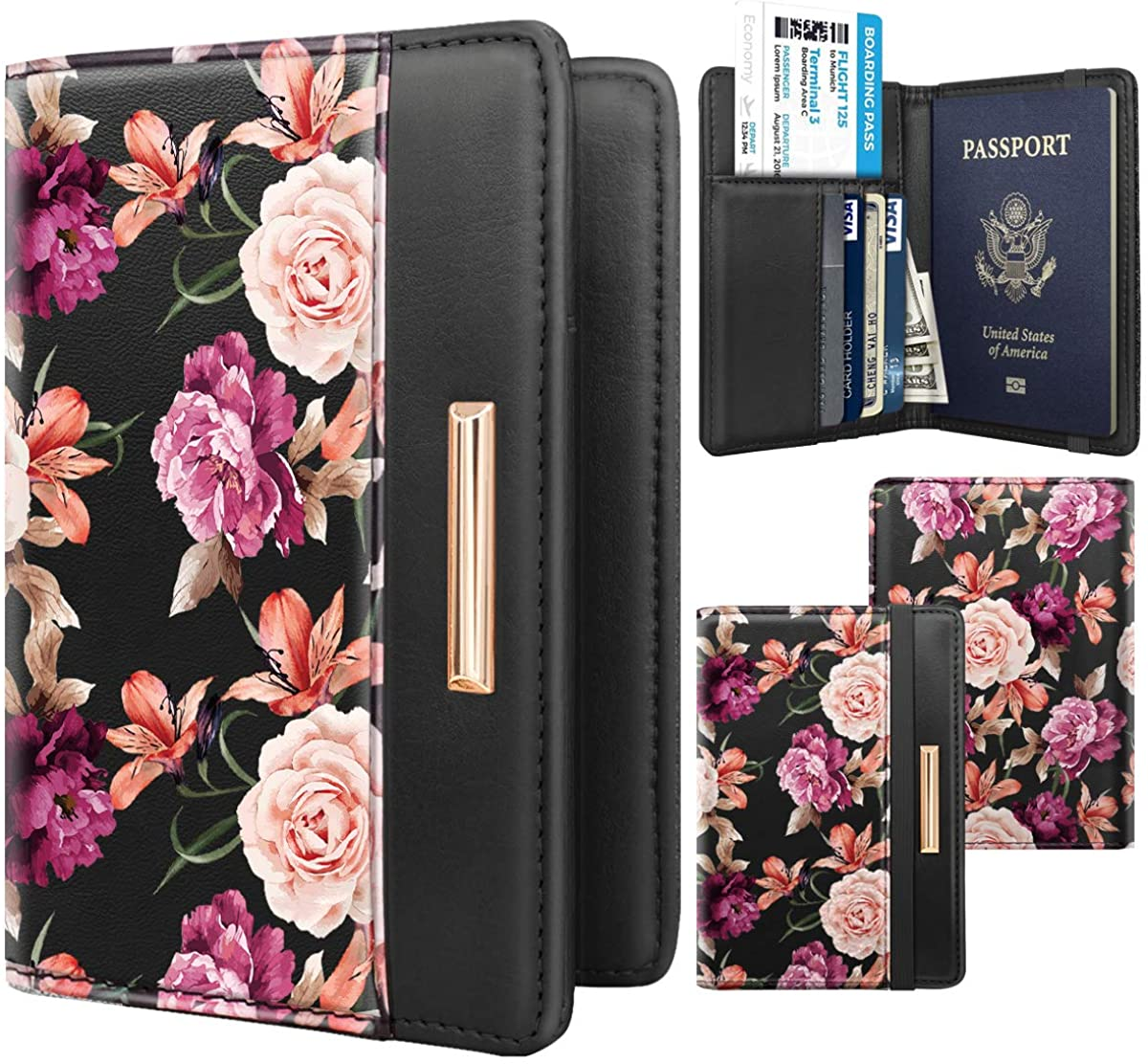 Leather Passport Cover Hosamtel Flower Pattern PU Leather ID Card Bag Passport Package Business Card Holder Travel Wallets Black