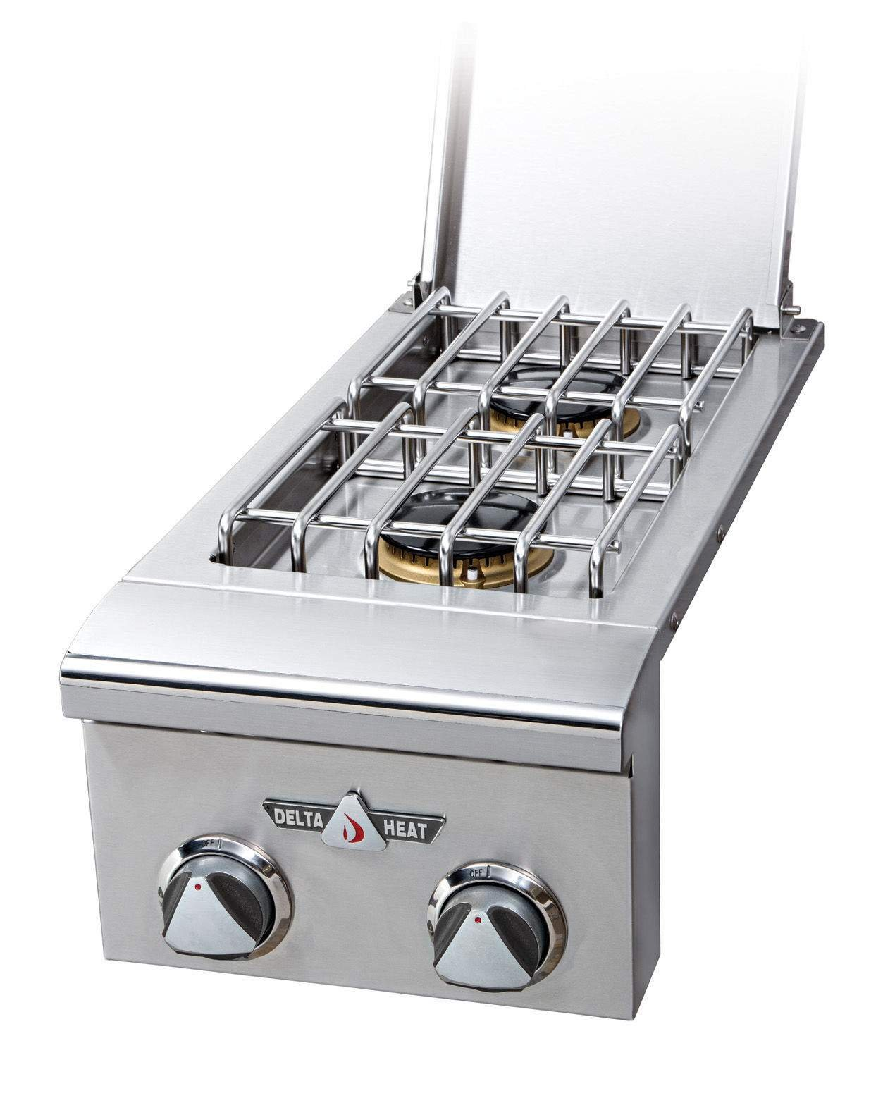 Delta Heat DHSB2-CL Liquid Propane Double Side Burner with Two 16 000 BTU Sealed Burners 9V Electronic Ignition and LED Control Panel Lights in Stainless by Delta Heat