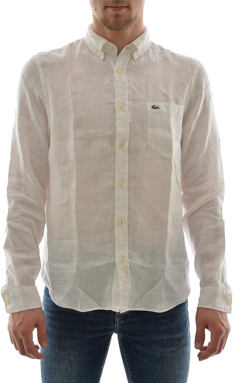 Lacoste CH6297 00 Pura Camisa de Lino Hombre Blanco de Manga Larga Abotonada con el Bolsillo (40 M, White): Amazon.es: Ropa y accesorios