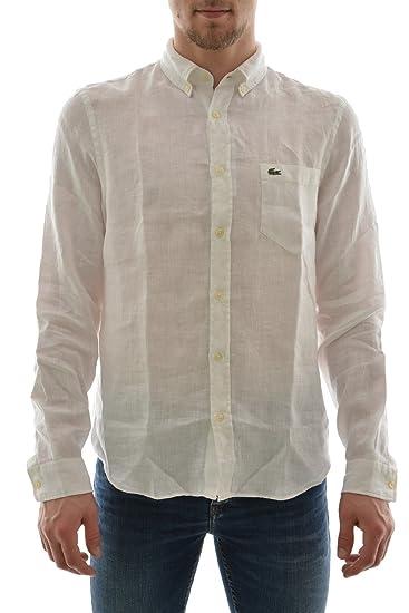 LACOSTE CH6297 00 Pura camisa de lino hombre blanco de manga larga ...