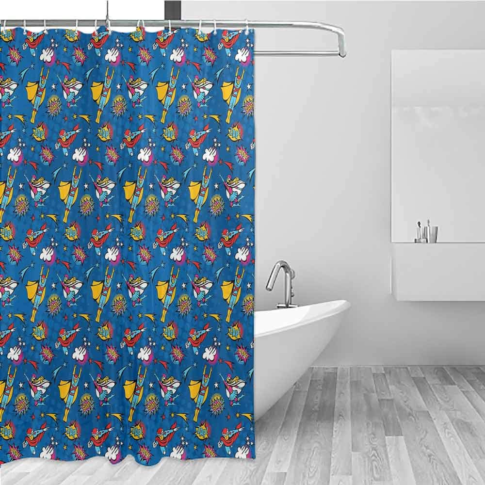 BE.SUN Long Shower Curtain,Superhero,Shower Curtains in Bath,W72x72L Violet Blue Earth Yellow by BE.SUN