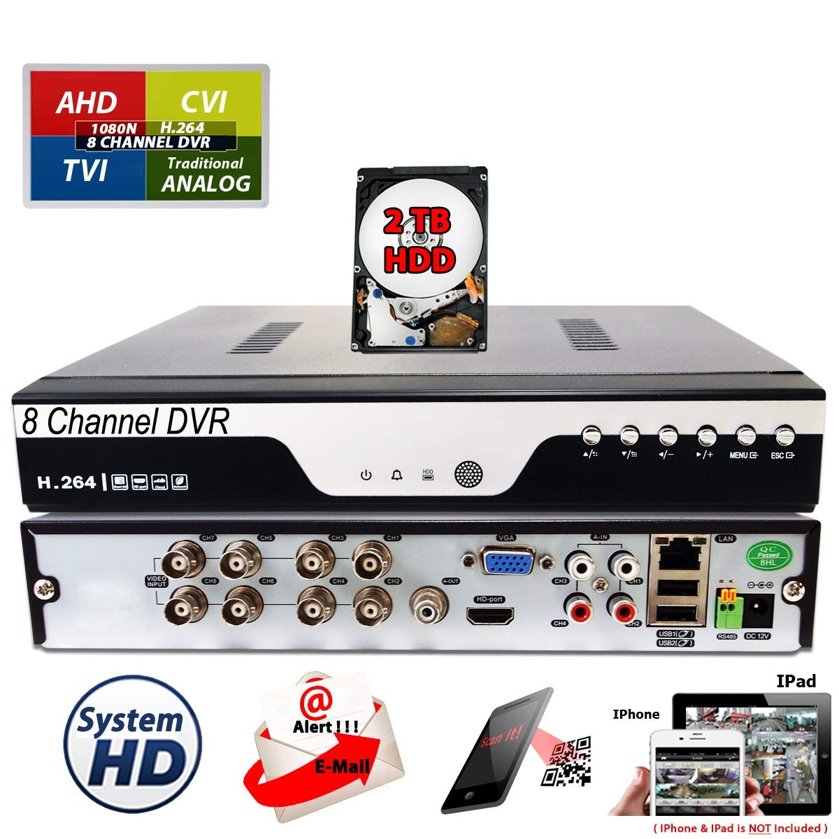 Evertech 8Ch DVR with 2TB HDD H.264 High-Definition TVI AHD CVI Analog Home Office Standalone CCTV Security Digital Video Recorder with 2TB HDD Installed and Pre-Configured by Evertech