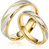 Daesar Joyería Ancho 4mm Acero Inoxidable Anillo Ring Plata Oro Amor Love Pareja Pedida Compromiso Alianzas