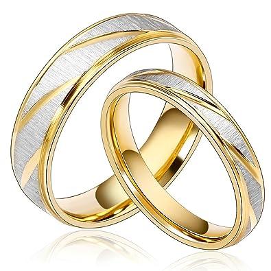 32cc993bf309 Daesar Joyería Ancho 6mm Acero Inoxidable Anillo Ring Plata Oro Amor Love  Pareja Pedida Compromiso Alianzas Boda para Hombre y Mujer  Amazon.es   Joyería