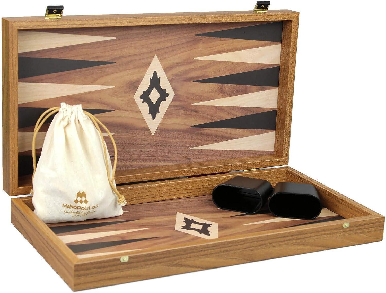 Wooden Manopoulos Backgammon Set Walnut 20