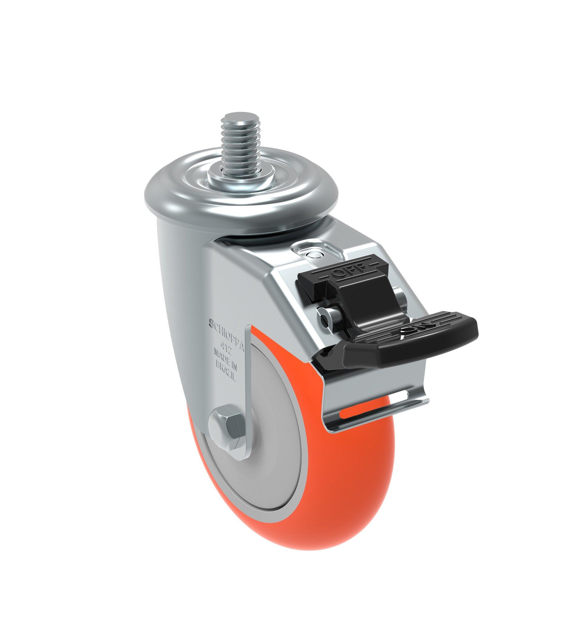 Schioppa GLEED 412 UPE G L12 Series 4'' x 1-1/4'' Diameter Swivel Caster with Total Lock Brake, Non-Marking Polyurethane Precision Ball Bearing Wheel, 3/8'' Diameter x 1'' Length Threaded Stem, 275 lb