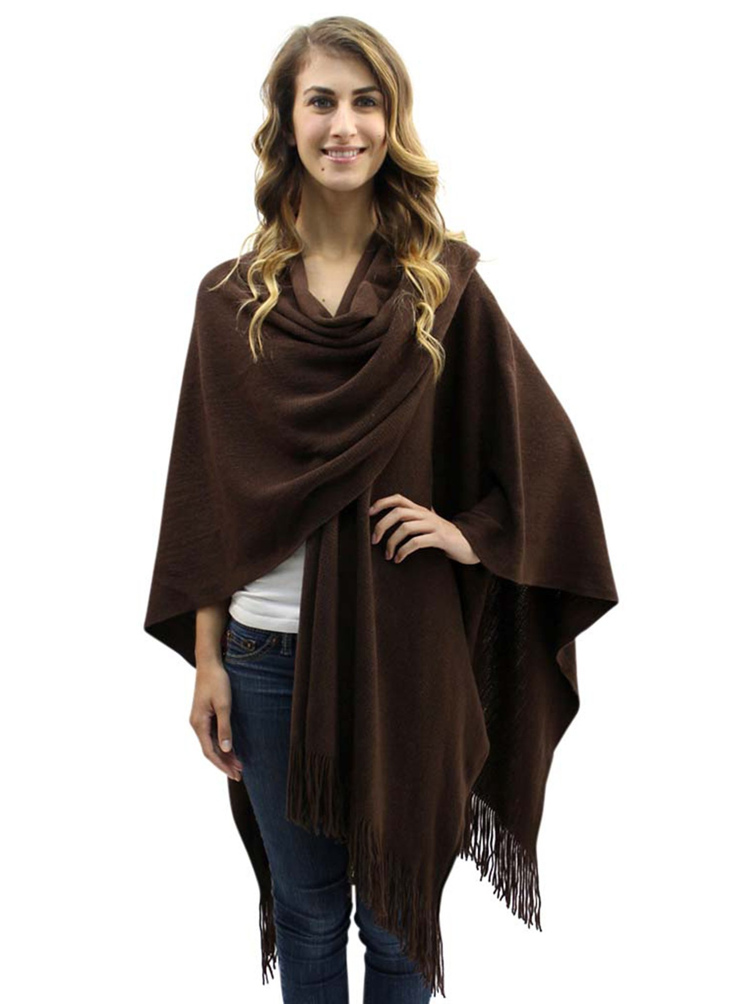 Brown Knit Shawl Wrap For Women