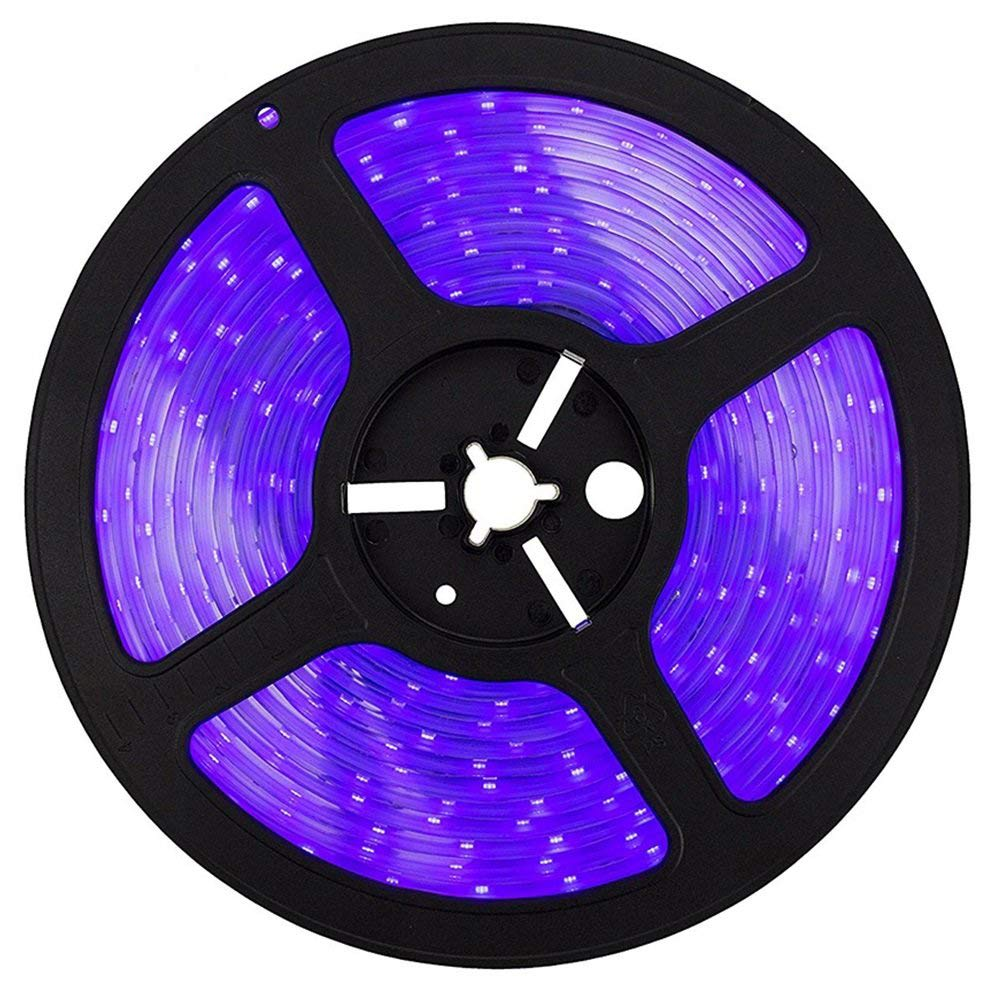 SUNVIE LED UV Black Light Strip, 60 Watts 16.4Ft/5M 2835 SMD 300LEDs Flexible Waterproof IP65 LED Light Strip with DC 24V 3A Power Supply