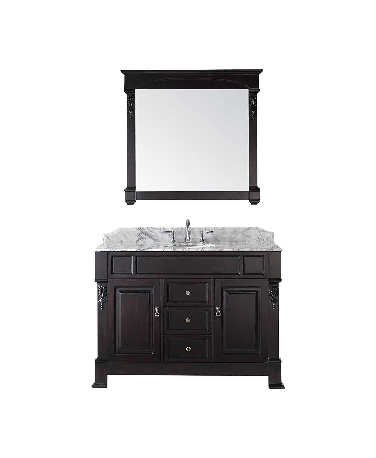 good Virtu USA GS-4048-WMRO-DW Huntshire 48-Inch Single Sink Bathroom Vanity with Mirror and Ceramic Basin, Dark Walnut Finish