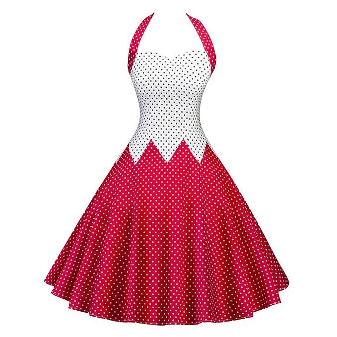 Yiiquan Mujers Vestidos De Halter Retro Vestidos Sin Manga Corte Vintage 50s 60s Rockabilly Rojo XL
