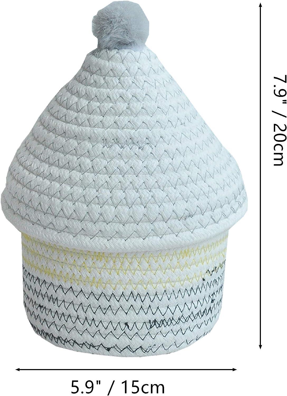 Stockage de Bureau Inwagui Petite Panier de Rangement Corde de Coton Bo/îte de Rangement avec Couvercle pour Baby Jouets D/écor de Chambre denfant Rose Pompon