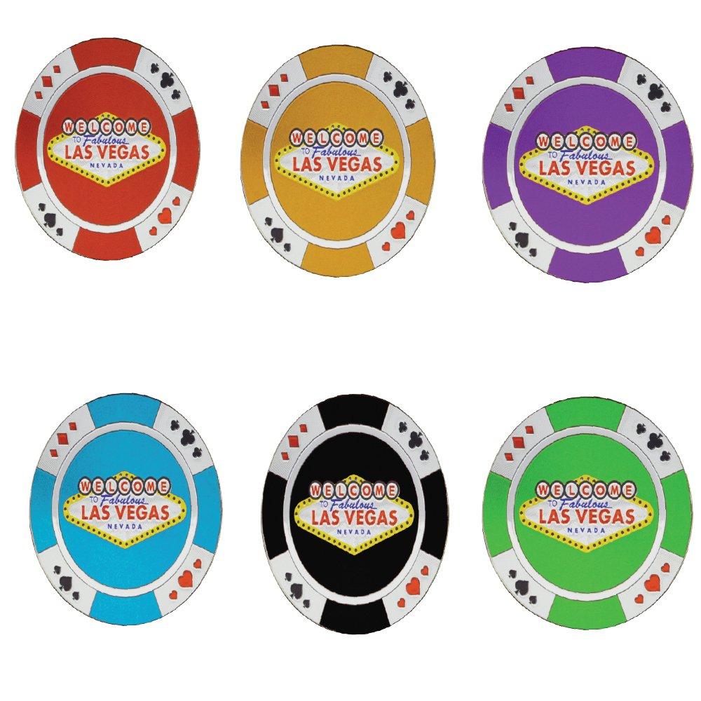 Las Vegas Casino Chips Classic Souvenir Refrigerator Magnets (Set of 6 Assorted Colors)