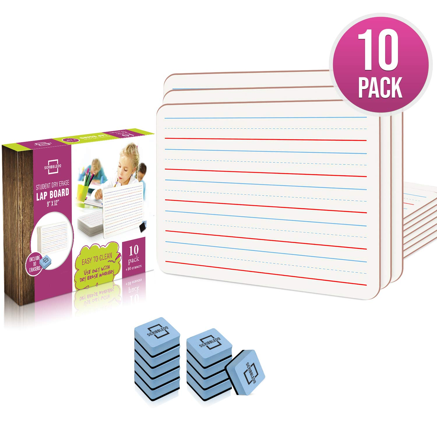 10 Pack Dry Erase Ruled Lap Boards l 9 X12 inch Lined Whiteboard  (Double sided White Boards )