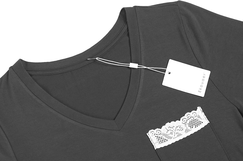 Ekouaer Pajamas Womens V Neck Sleepshirts Short Sleeve Sleepwear PJs Slip Dress S-XXL