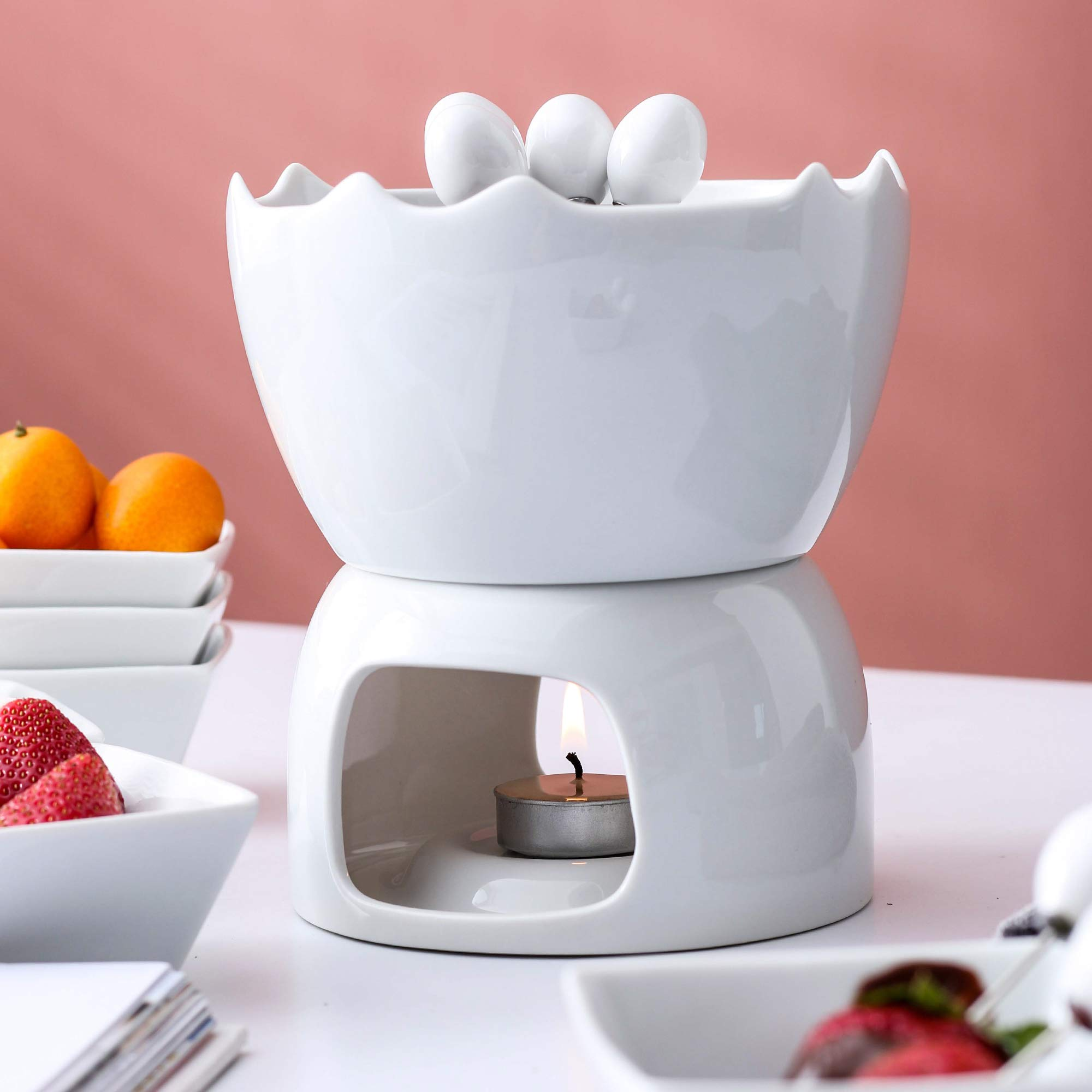 Malacasa Fondue Pot Set Two-layer Porcelain Tealight Chocolate Fondue with Dipping Bowls and Forks for 6, Cheese Fondue or Butter Fondue Set, White by Malacasa (Image #9)