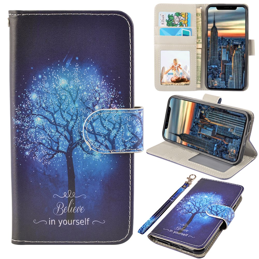 iPhone X Case, MagicSky iPhone X Wallet Case, Premium PU Leather Wristlet Flip Case Cover with Card Slots & Stand for Apple iPhoneX - Believe in yourself