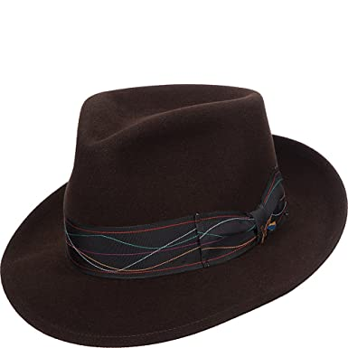 Santana Men s Merino Suede Teardrop Fedora Hat XL Brown at Amazon ... 988edb27d81