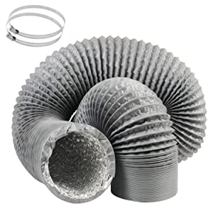 5 Inch Duct Hose by 16 Feet, Eau Gray Flexible 4-Layers Aluminum Dryer Vent Tube Transition Duct Air Hose with 2 Screw Clamps Great for HVAC Duct, Clothes Dryer Duct, Air Duct